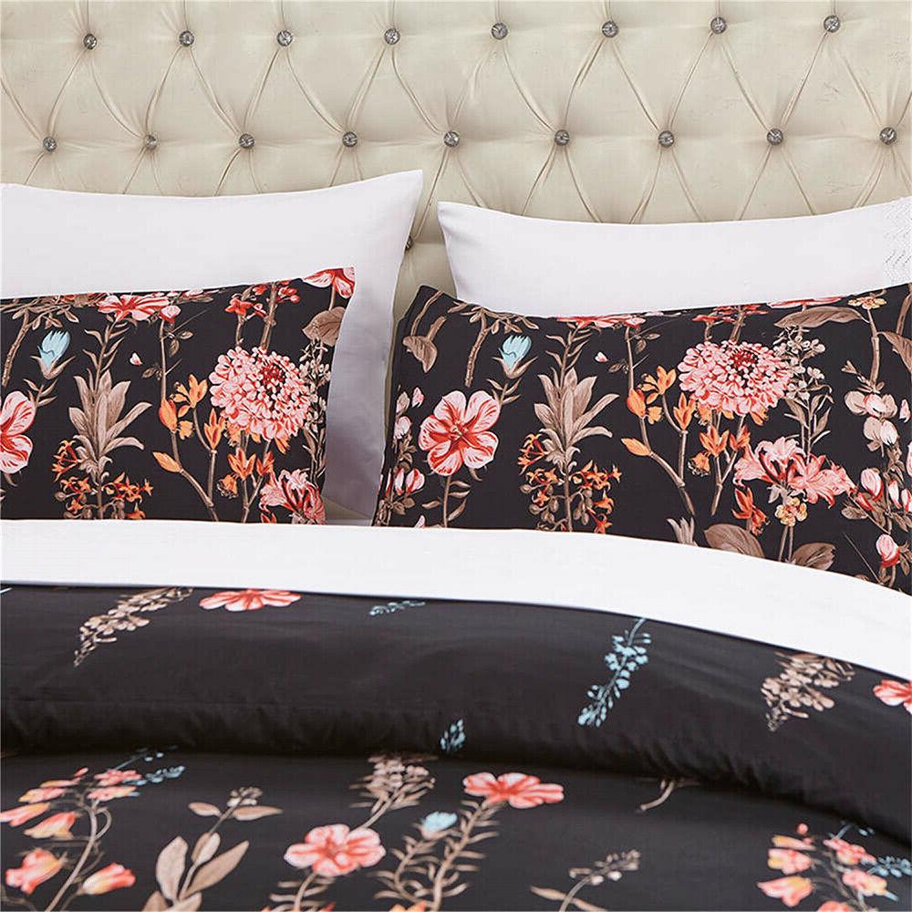 Floral Queen Size Comforter with Cases Reversible Bedding