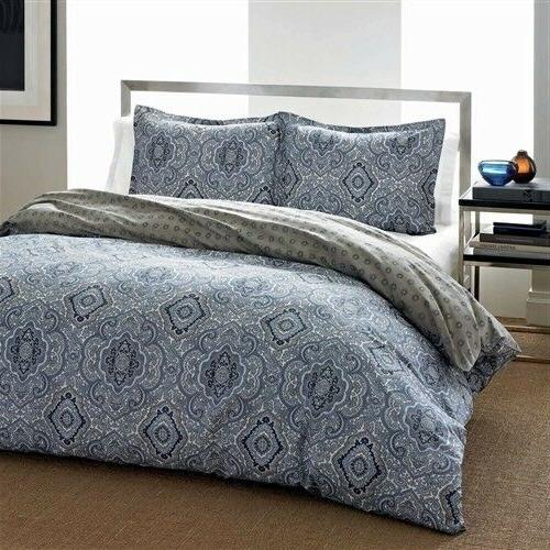 Full / Queen Cotton Comforter Set with Grey Blue Damask Patt