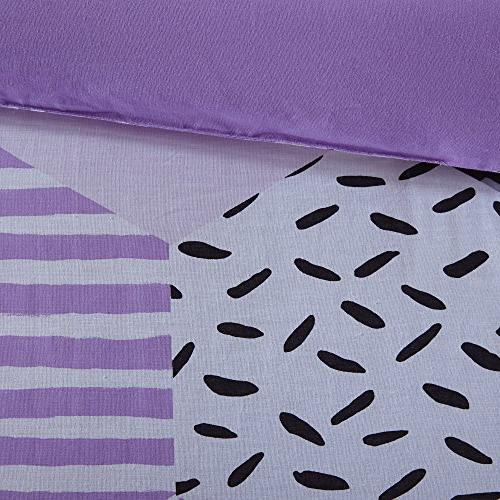 PH Piece Girls Purple Grey Comforter Full Set, White Black Stripe Dots Motif Weave Color Reversible Kids Teen Bedroom Casual Cozy,