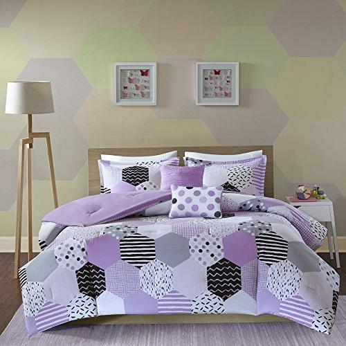 PH 5 Purple Comforter Full Queen Black Stripe Dots Motif Weave Design Color Reversible Kids Bedding Teen Bedroom Cozy,