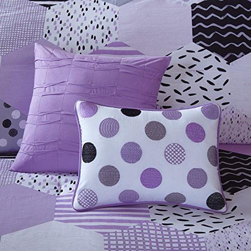 PH 5 Purple Geometric Full Queen Set, Black Stripe Dots Weave Design Hexagon Color Reversible Kids Bedding Teen Bedroom Elegant Cozy,