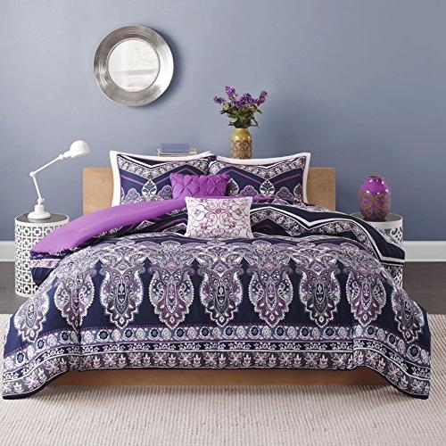 5 Navy Blue Medallion Comforter Set, Violet Printed Motifs Stripe Paisley Luxurious Elegant Bedroom, Polyester