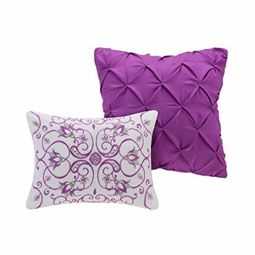5 Piece Girls Purple Navy Blue Medallion Floral Violet Flowers Printed Elegant Bedroom,
