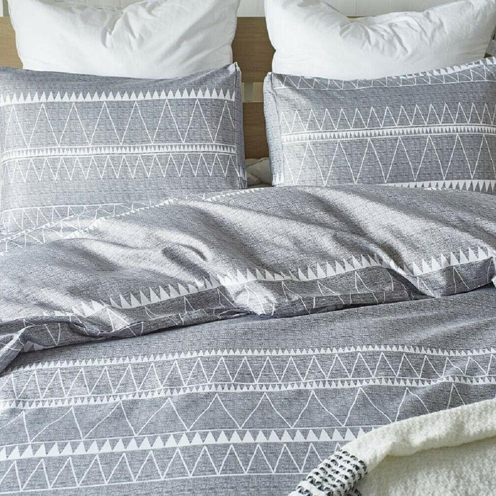 Beautiful Gray Striped Set Soft King Queen Size Bed US