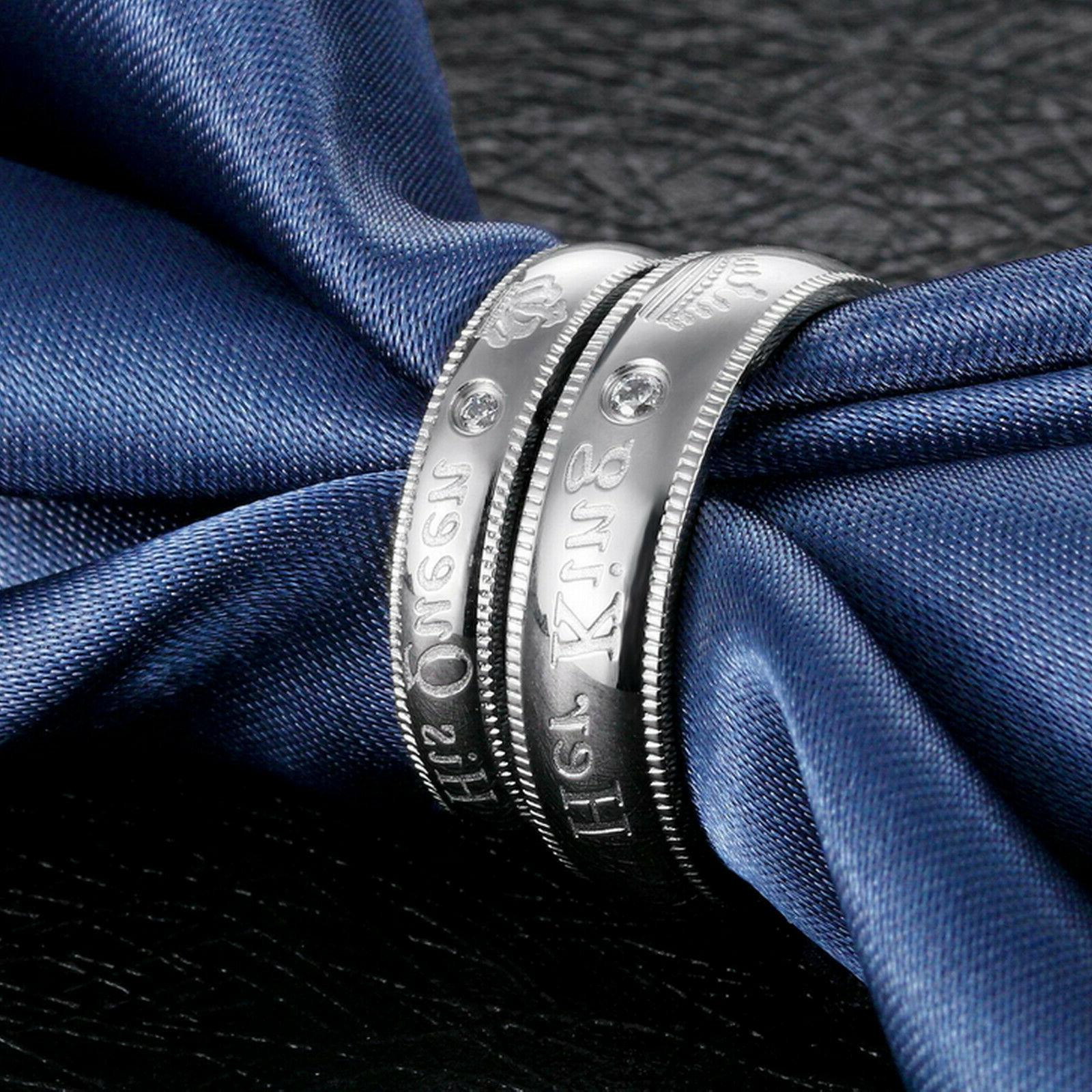 Her or Queen Couple's Matching Promise Ring Comfort Band