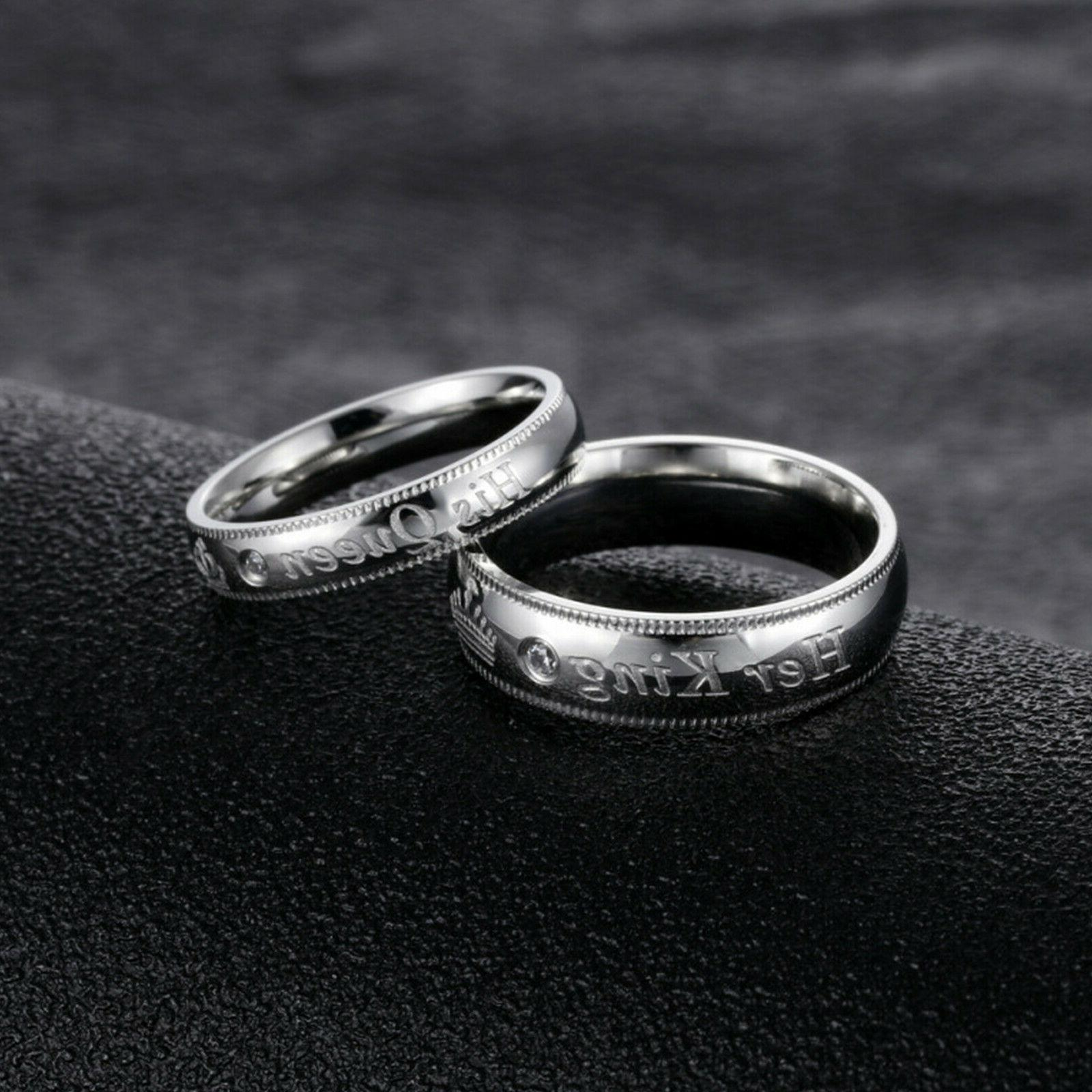 Her King Queen Couple's Ring Comfort Fit Band