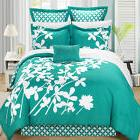 Iris Turquoise & White 7 Piece Comforter Bed In A Bag Set