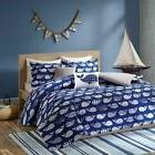 Kids Navy Blue & White Geometric Whales Comforter Set AND De