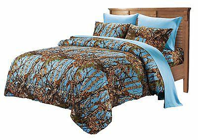 7 PC KING POWDER BLUE CAMO COMFORTER AND SHEET SET! BEDDING