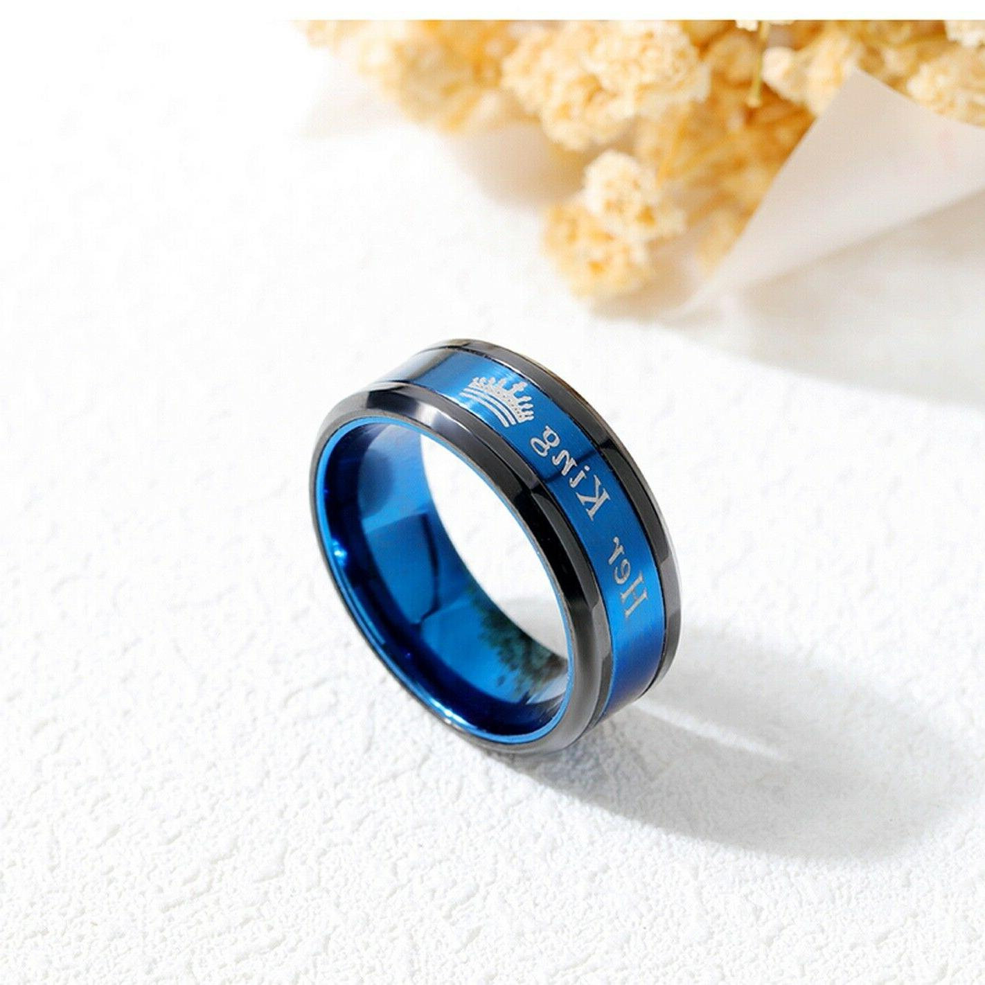 King His or Her Couple's Matching Promise Ring Comfort Band