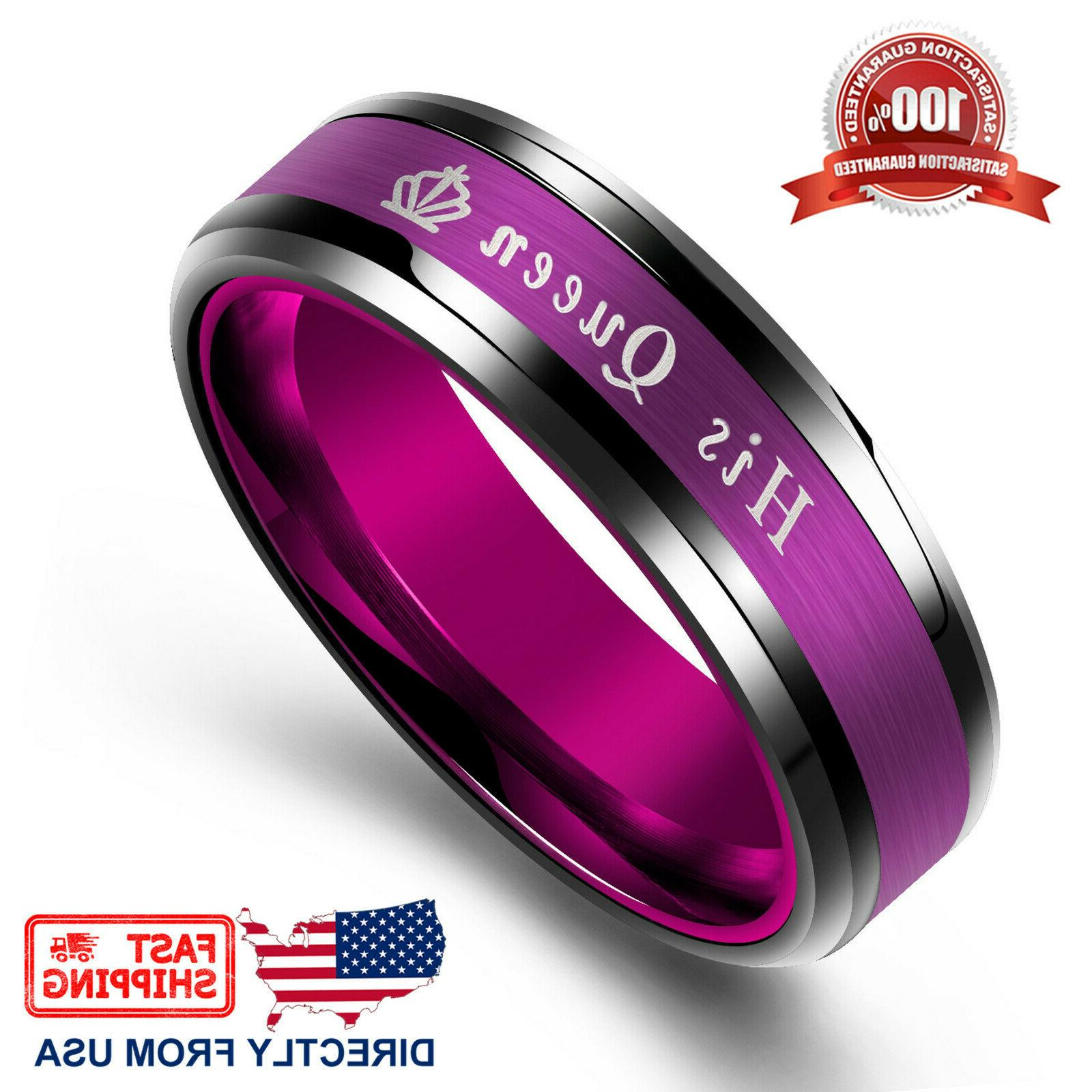 King Queen His Her Ring Comfort Fit Wedding Band