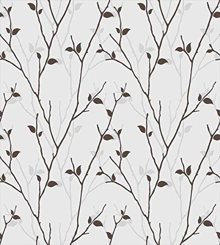 Ambesonne Duvet Set Queen in The Fall Stem Twig Last Few Leaves Minimalistic Design Art, Decorative Bedding with 2 Pillow Pale Brown