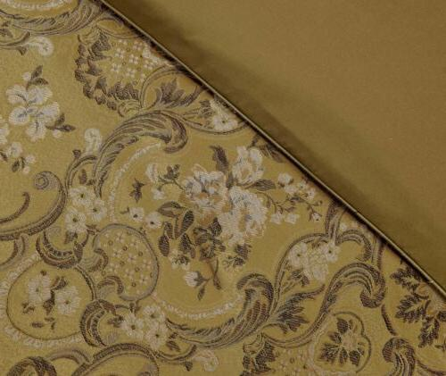 Lennox Gold Jacquard Comforter 4pc Curtain