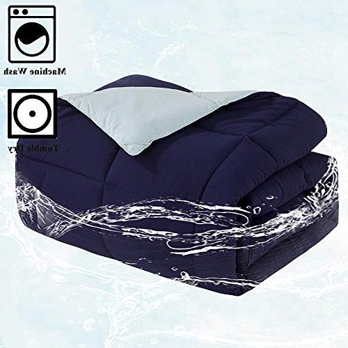 Comforter Down Alternative Queen All Season Microfiber Comforter Navy/Light Full/Queen Size with Tabs