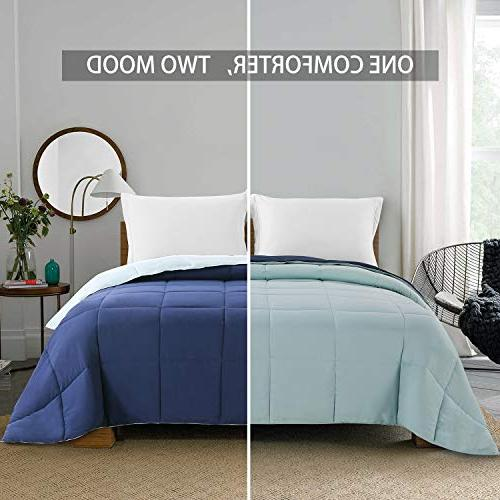 Homelike Lightweight Reversible Comforter Down Queen All Season Microfiber Comforter Navy/Light Blue Full/Queen Size Tabs Hypoallergenic
