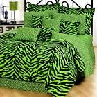 Lime Green Zebra Comforter Set with Curtains Option and Free