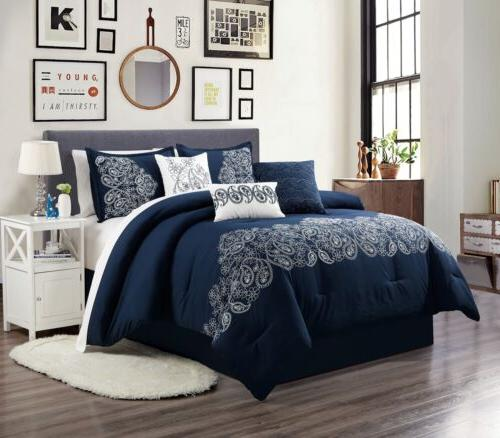 White Chezmoi Collection Linz 7-Piece Paisley Floral Scroll Embroidered Comforter Set King, Navy