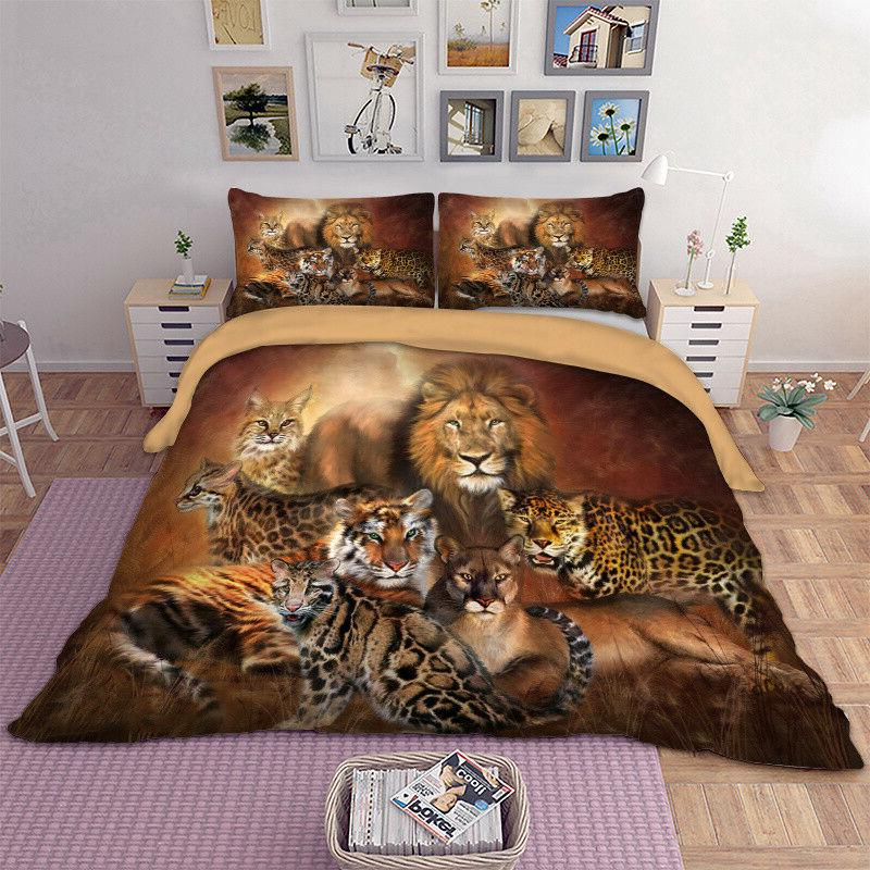 Animal Duvet Cover Set For Comforter King Queen Size Bedding