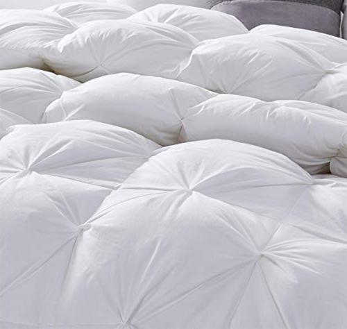 Luxurious All-Season Goose Comforter Queen Size Insert, Exquisite Design, Premium Box, 1200 Thread Count 100% Egyptian 750+ Fill Power, 55 oz Weight, White