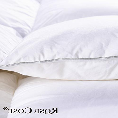 ROSECOSE Goose Comforter All Seasons Hypo-allergenic Thread 750+ Cotton Shell Down Proof with