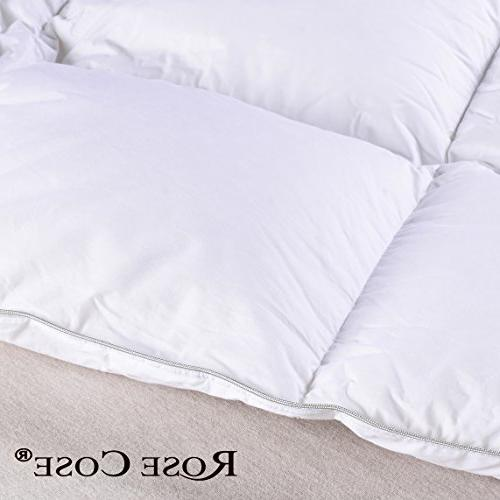 ROSECOSE Down Comforter Queen All Seasons Hypo-allergenic 750+ Fill Cotton with