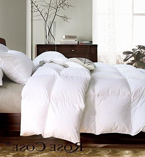ROSECOSE Goose Comforter Queen All Solid Hypo-allergenic 750+ Cotton Down with Tabs
