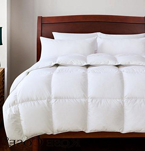 ROSECOSE Comforter All Hypo-allergenic 750+ 100% Cotton Shell with Tabs