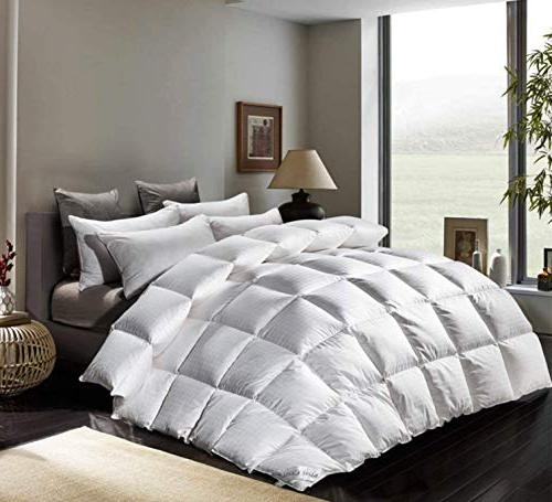 ROSECOSE Goose Down Queen Duvet Checkered Hypo-allergenic 1200 Thread 750+ Power 100% Cotton Dobby Checkered