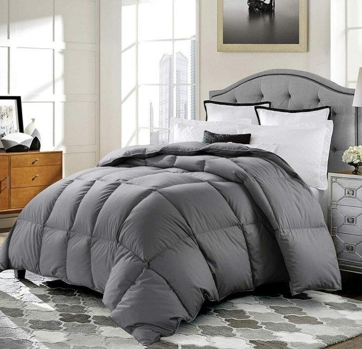 Luxury 1200 TC Goose Down Comforter 100% Egyptian Cotton Cover Gray