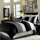 Luxury 8-Piece Stripe Comforter Bed-in-a-Bag Set  Black/Whit