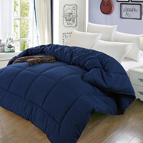 All Season Down Comforter with Tabs Hypoallergenic Plush Fabric Washable - & Navy