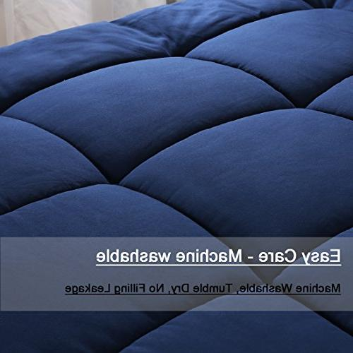 All Queen Down Quilted Comforter with Corner Washable Insert & Comforter Navy