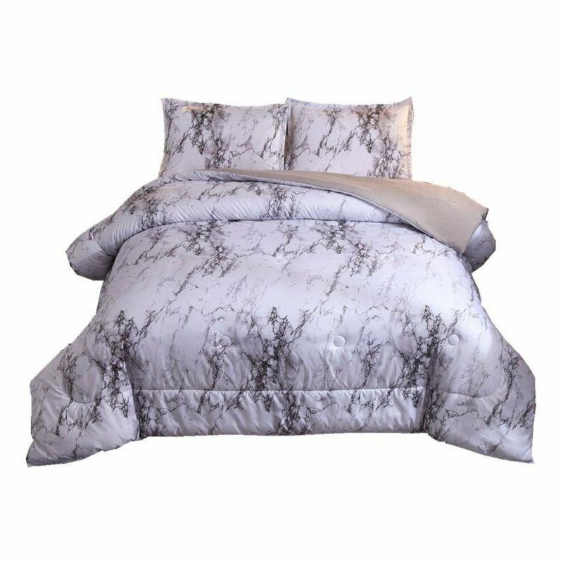 Marble Comforter Set With 2 Matching Pillow For Home Bed Bed
