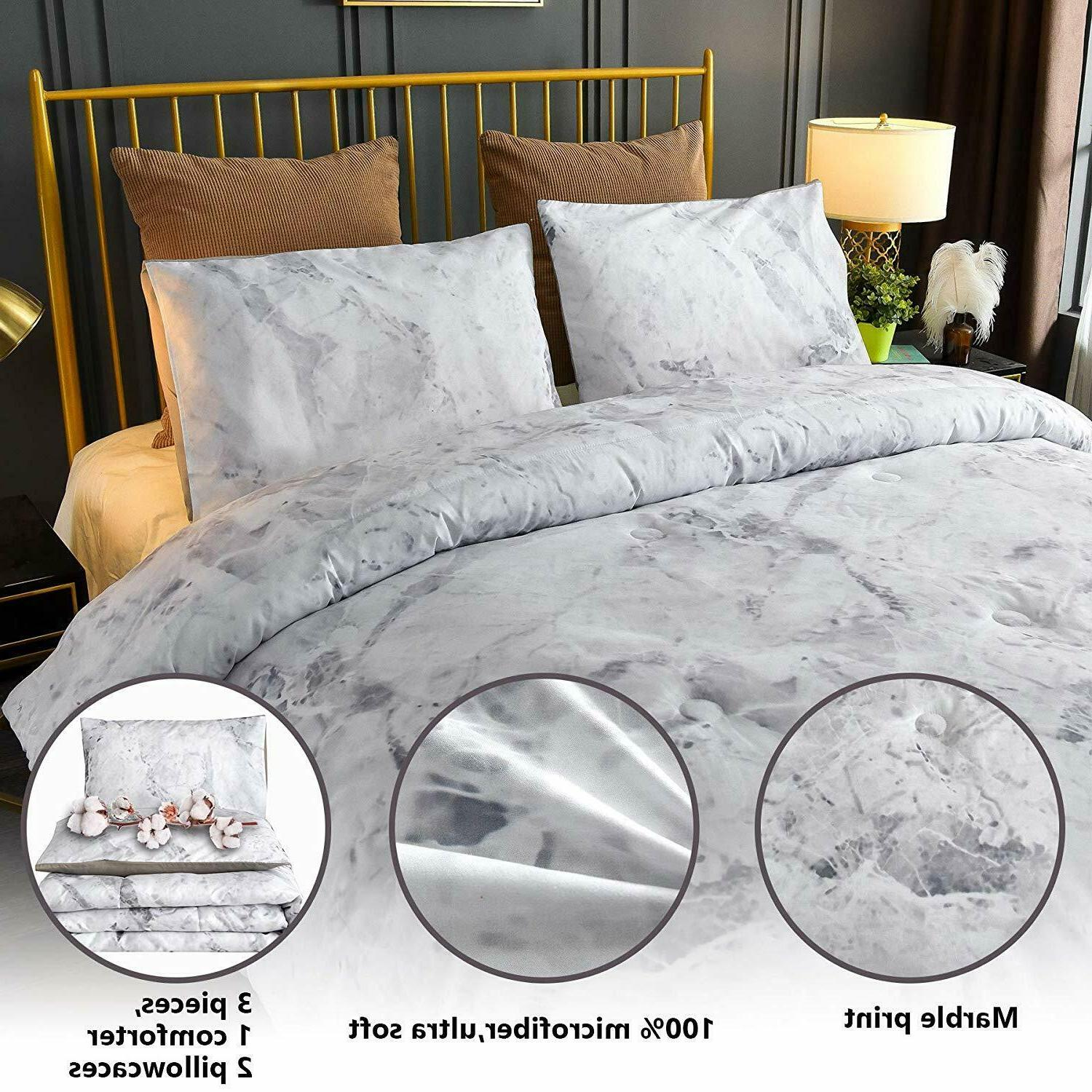 Marble Pattern Comforter Ultra Quilt Bed-in-a-Bag