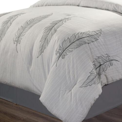 Chezmoi 7-Piece Chic Feathers Scroll Embroidered Comforter