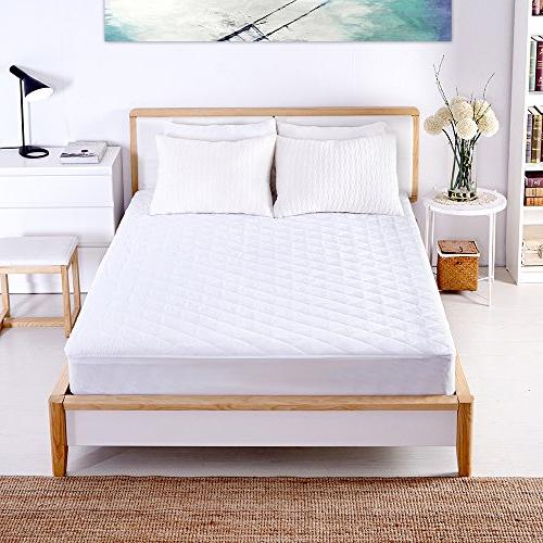 Sable Mattress Pad Queen Size Waterproof Quilted Topper Cover FDA Certified Hypoallergenic Fill, Mite Protection, Fitted Skirt 16 Inch