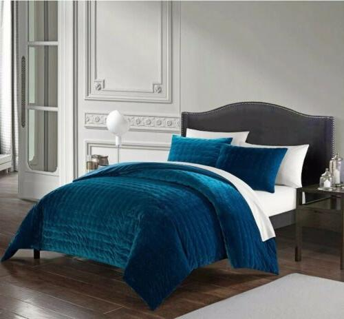 New Chyna Teal Comforter Quilted Velvet Piece