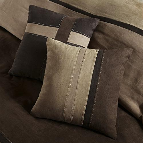 Madison Palisades Queen Size Bed in A - Stripe 7 Pieces Bedding Suede