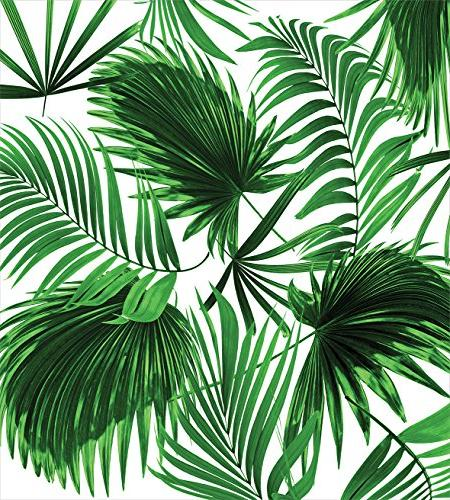 Ambesonne Palm Cover Size, Realistic Vivid Leaves of Palm Lush Decorative 3 Set 2 Shams,