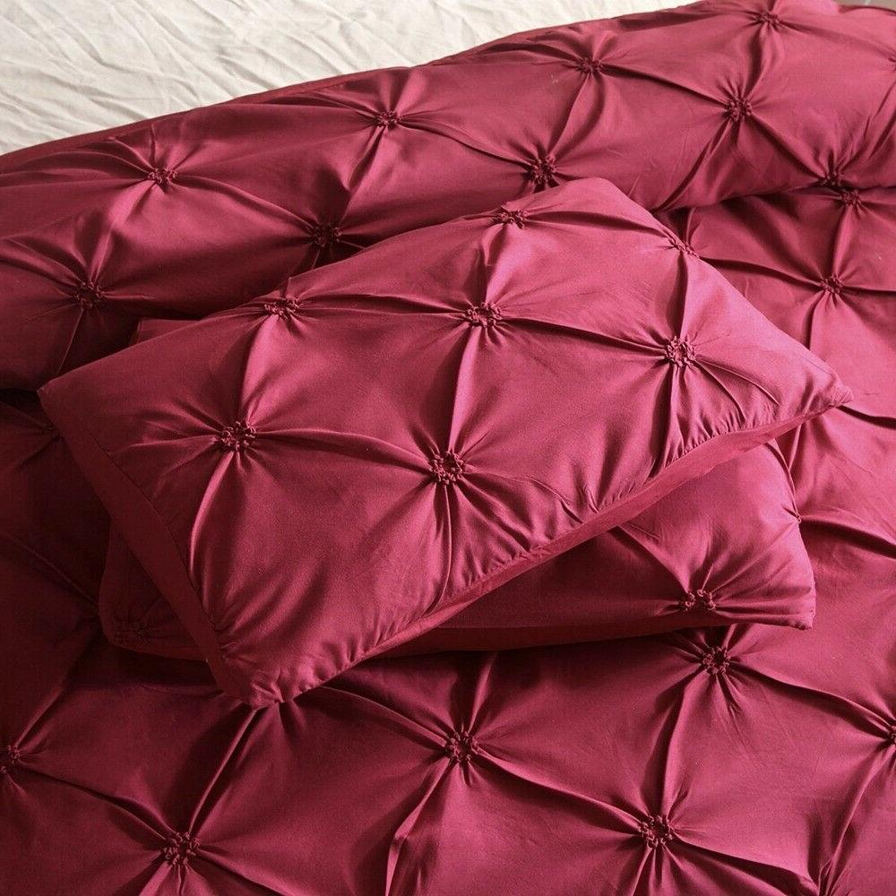 Pinch Pleat Cover Set For Queen Bedding Set