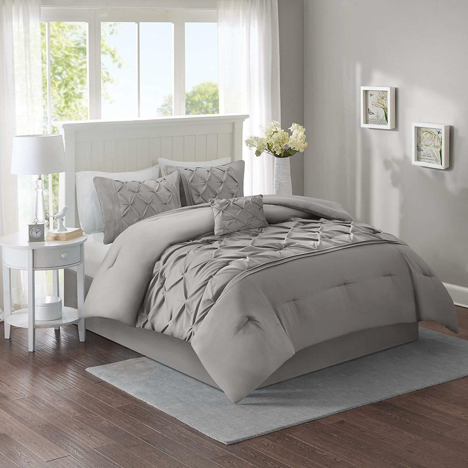 Bed A Bag Tufted Pattern Bedding Grey 5 Piece