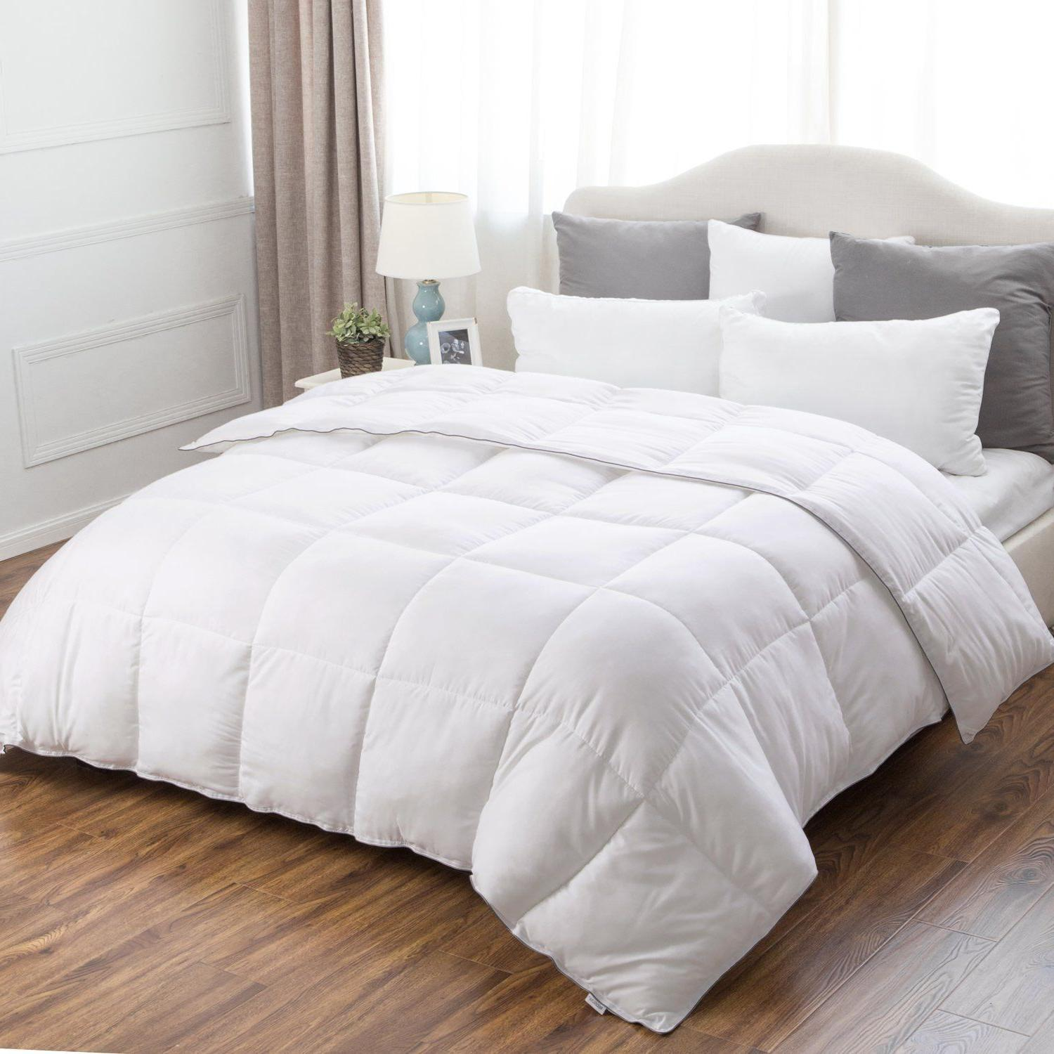 plush down alternative comforter box quilted reversible
