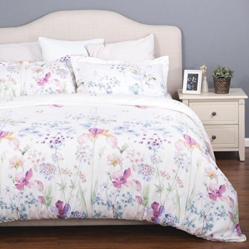 Bedsure Printed Cover Set Queen/Full White Soft Duvet 3 Pieces