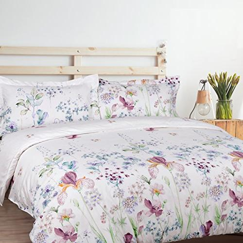 Bedsure Printed Floral Cover White Soft 3 Sets