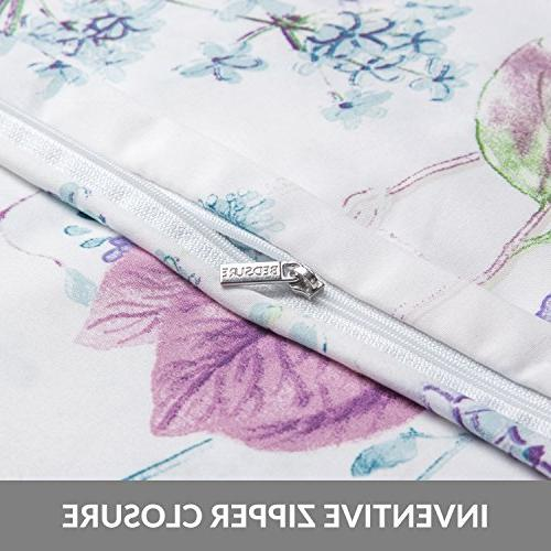 Bedsure Printed Cover Queen/Full Size White 3 Bedding