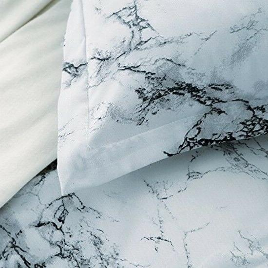 Queen Bedding Cover Set White Marble Piece Modern Comforter Wash Pillow