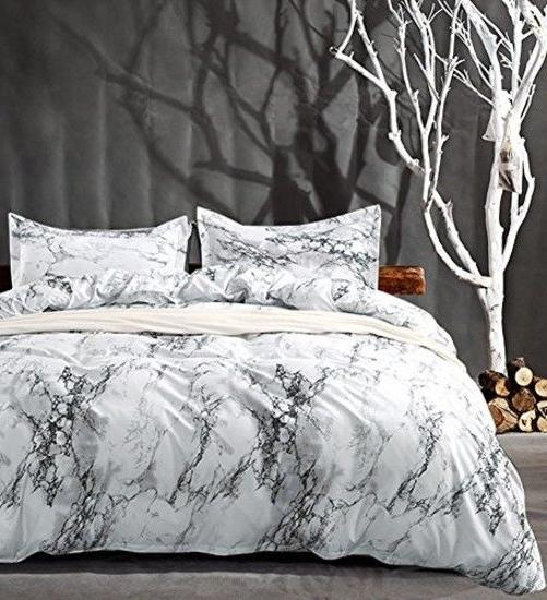 Queen Bedding Duvet Cover Set White Marble 3 Piece Modern Co