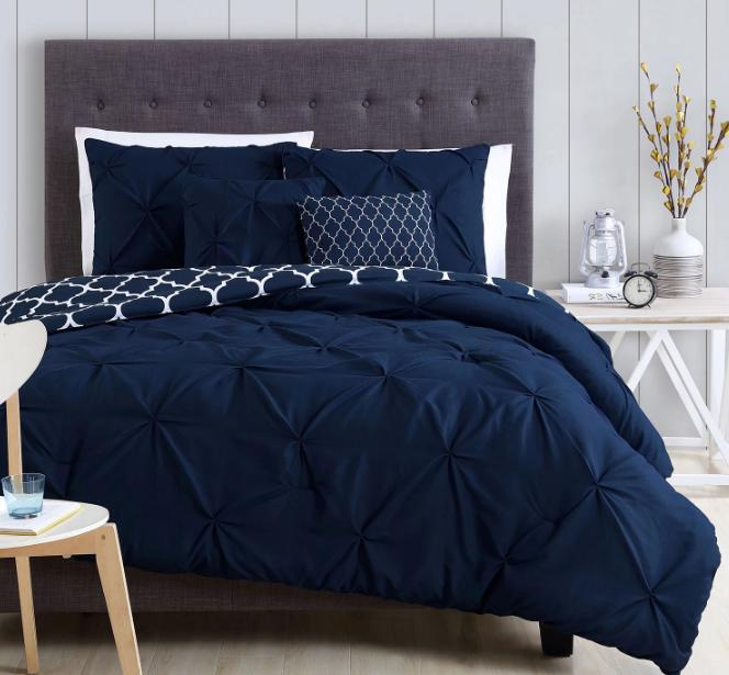 Queen Comforter Set Bedding Navy Blue Bedspread C