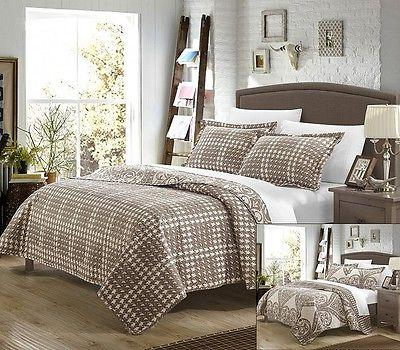 Quilt Set Queen Full Duvet Cover Beige Comforter Coverlet Be