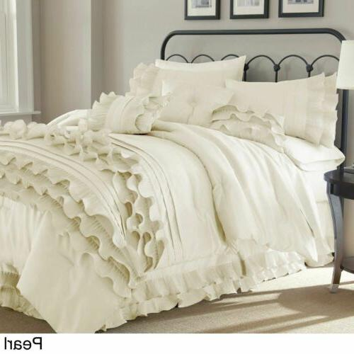Queen King Bed Solid Neutral White Ruffles Frilly 8 pc Comfo